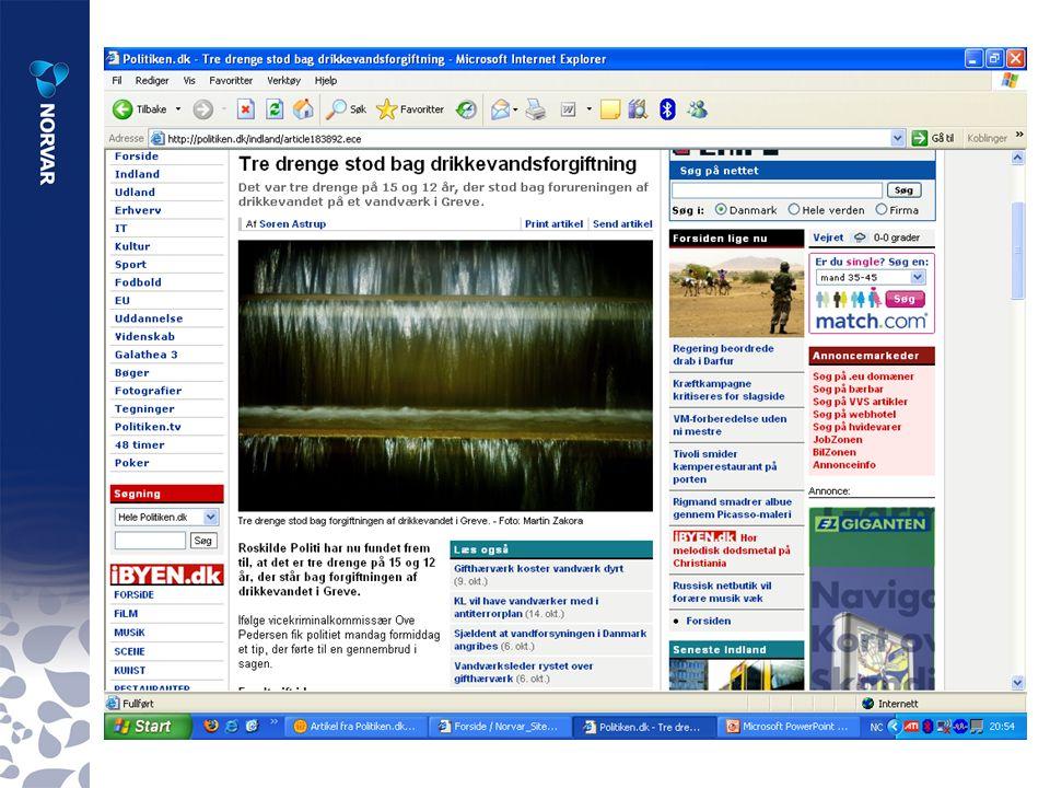 Noen viktige rapporter til st ø tte i arbeidet med en god og sikker vannforsyning Optimal desinfeksjonspraksis for drikkevann (NORVAR-rapport 147/2006) Prosedyre for å finne ut hva som er n ø dvendig vannbehandling ved det enkelte vannverk Veiledning i utarbeidelse av pr ø vetakingsprogrammer for drikkevann (NORVAR-rapport 148/2006) Veiledning for ø kt sikkerhet og beredskap i vannforsyningen (Mattilsynet, NORVAR-rapport C5/2006)