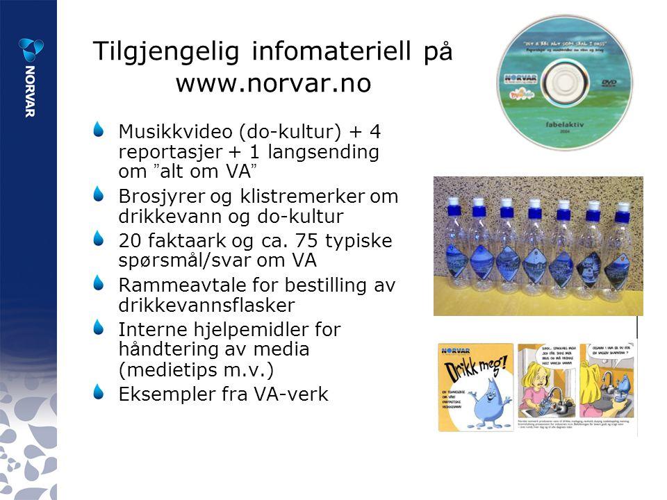 Tilgjengelig infomateriell p å www.norvar.no Musikkvideo (do-kultur) + 4 reportasjer + 1 langsending om alt om VA Brosjyrer og klistremerker om drikkevann og do-kultur 20 faktaark og ca.
