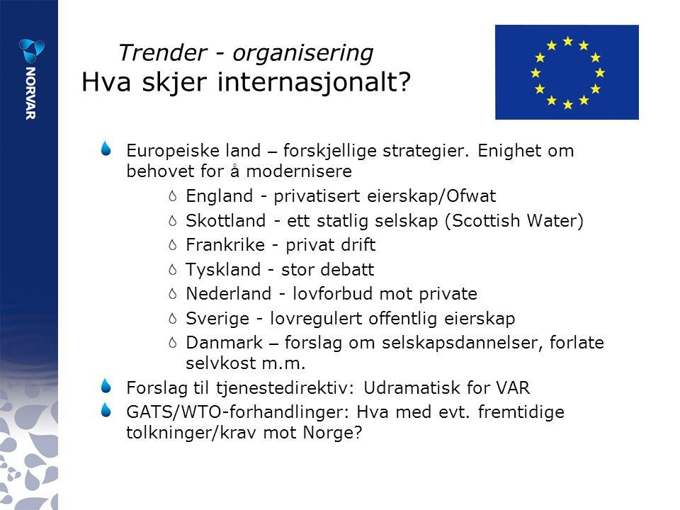 Trender - organisering Hva skjer internasjonalt. Europeiske land – forskjellige strategier.
