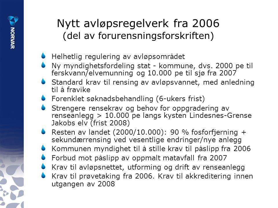 Nytt avl ø psregelverk fra 2006 (del av forurensningsforskriften) Helhetlig regulering av avl ø psomr å det Ny myndighetsfordeling stat - kommune, dvs.