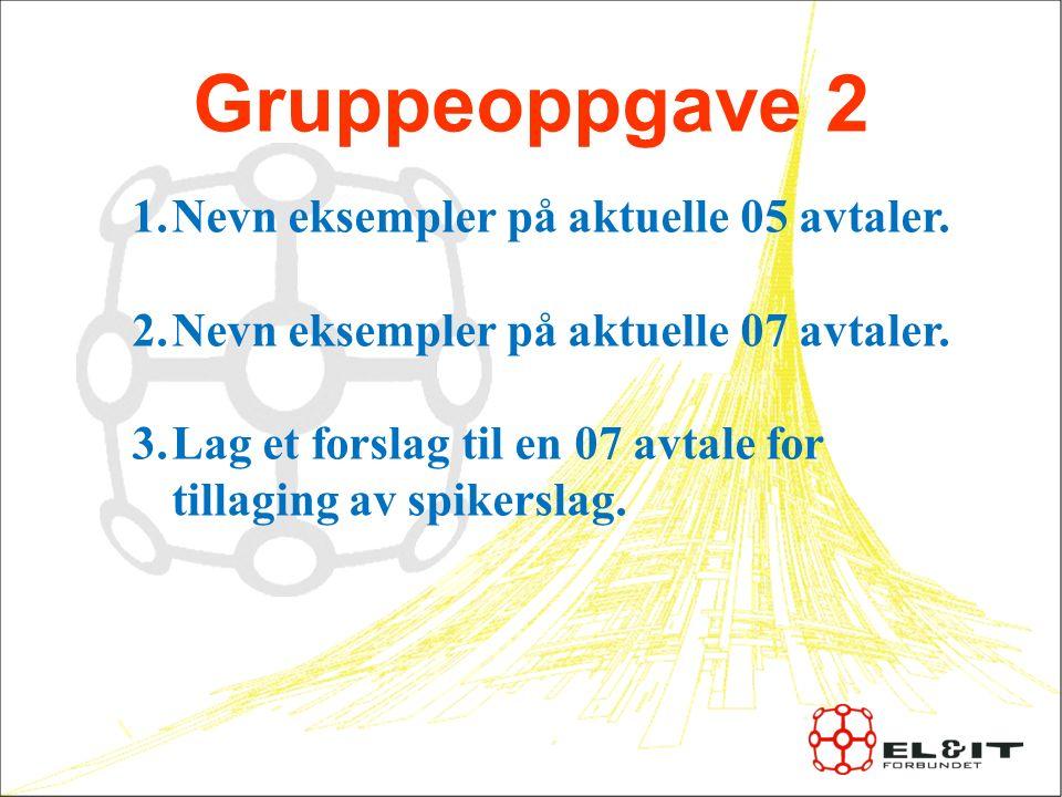 Gruppeoppgave 2 1.Nevn eksempler på aktuelle 05 avtaler.