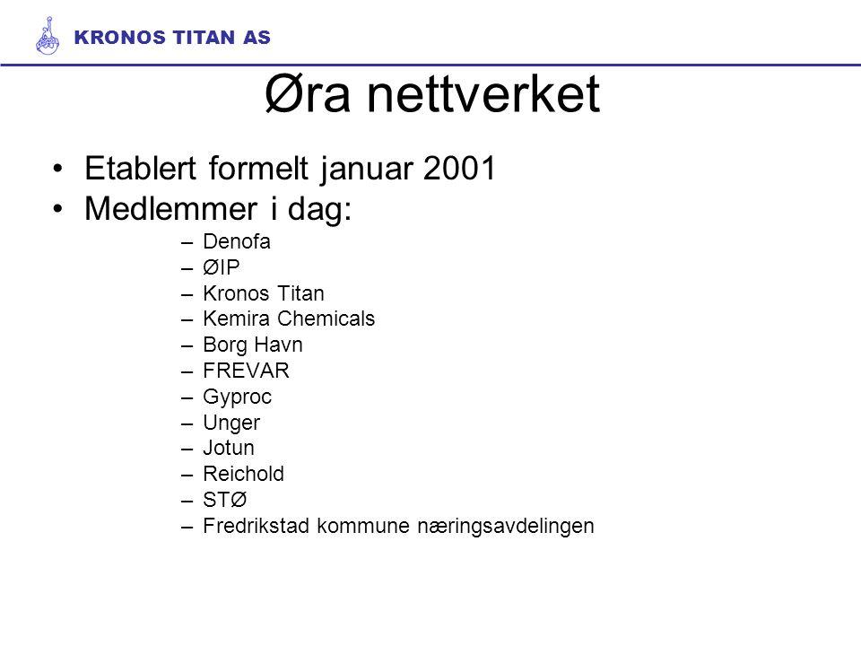 Øra nettverket Etablert formelt januar 2001 Medlemmer i dag: –Denofa –ØIP –Kronos Titan –Kemira Chemicals –Borg Havn –FREVAR –Gyproc –Unger –Jotun –Re