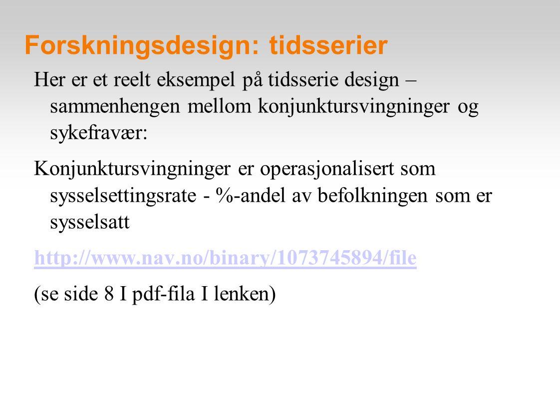 Forskningsdesign: tidsserier Her er et reelt eksempel på tidsserie design – sammenhengen mellom konjunktursvingninger og sykefravær: Konjunktursvingninger er operasjonalisert som sysselsettingsrate - %-andel av befolkningen som er sysselsatt http://www.nav.no/binary/1073745894/file (se side 8 I pdf-fila I lenken)