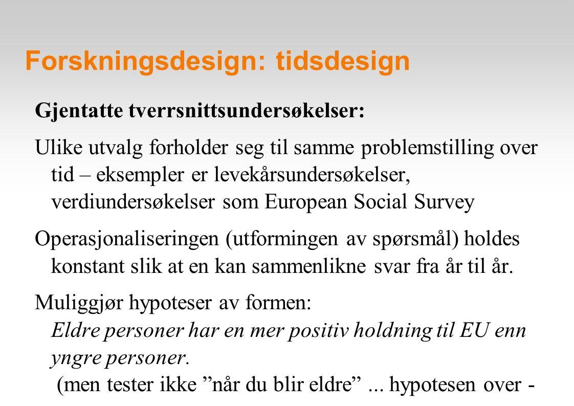 Forskningsdesign: project IDEELS Gjentatte tverrsnittsundersøkelser – et eksempel: Høgskolen i Nord-Trøndelag (HiNT) har siden 1997 deltatt i Project IDEELS med bruk av simulering / rollespill via internett, med utvalg av studenter fra hele Europa.