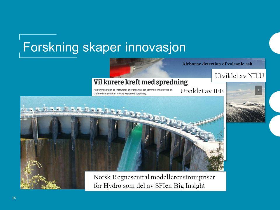 13 Forskning skaper innovasjon Norsk Regnesentral modellerer strømpriser for Hydro som del av SFIen Big Insight Utviklet av IFE Utviklet av NILU