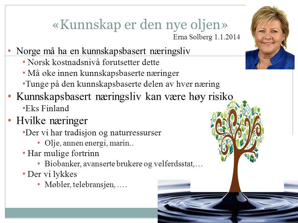 «Kunnskap er den nye oljen» Erna Solberg 1.1.2014 Norge må ha en kunnskapsbasert næringsliv Norsk kostnadsnivå forutsetter dette Må øke innen kunnskapsbaserte næringer Tunge på den kunnskapsbaserte delen av hver næring Kunnskapsbasert næringsliv kan være høy risiko Eks Finland Hvilke næringer Der vi har tradisjon og naturressurser Olje, annen energi, marin..