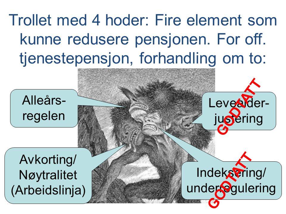 Alleårs- regelen Trollet med 4 hoder: Fire element som kunne redusere pensjonen. For off. tjenestepensjon, forhandling om to: Indeksering/ underregule