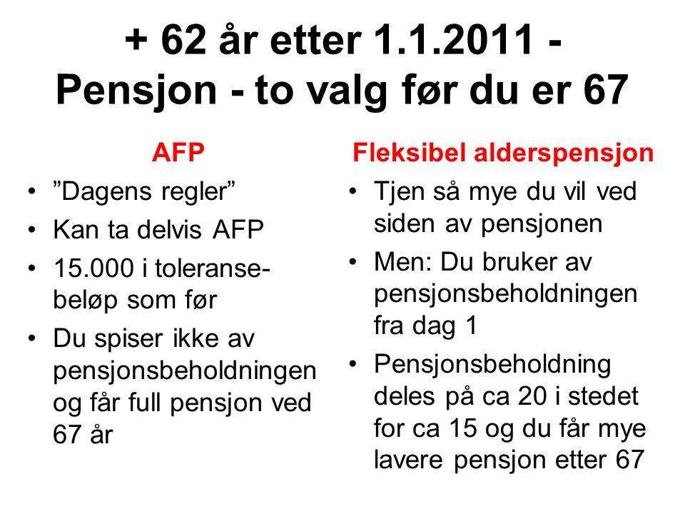 """+ 62 år etter 1.1.2011 - Pensjon - to valg før du er 67 AFP """"Dagens regler"""" Kan ta delvis AFP 15.000 i toleranse- beløp som før Du spiser ikke av pens"""