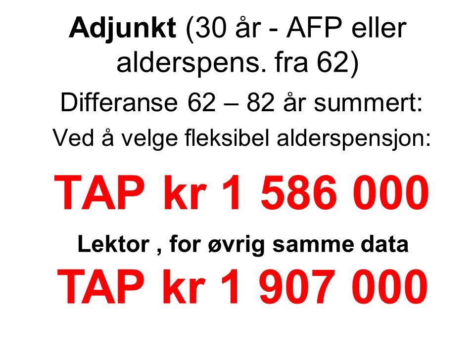 Adjunkt (30 år - AFP eller alderspens. fra 62) Differanse 62 – 82 år summert: Ved å velge fleksibel alderspensjon: TAP kr 1 586 000 Lektor, for øvrig