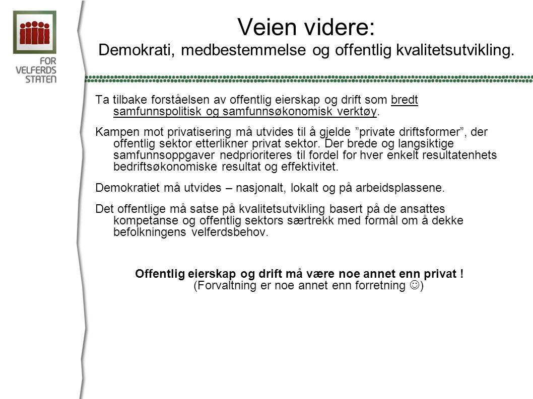 Veien videre: Demokrati, medbestemmelse og offentlig kvalitetsutvikling.