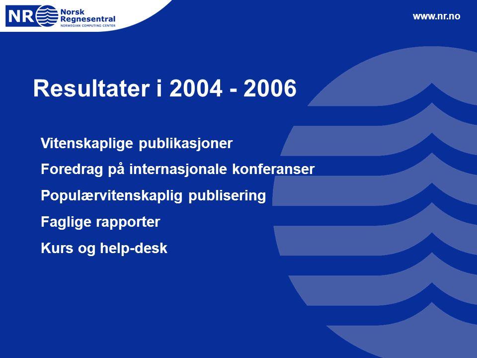 www.nr.no Resultater i 2004 - 2006 Vitenskaplige publikasjoner Foredrag på internasjonale konferanser Populærvitenskaplig publisering Faglige rapporter Kurs og help-desk