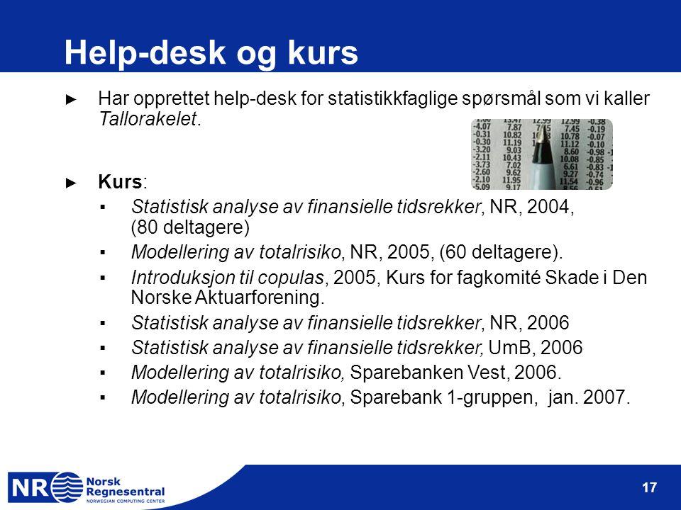 17 Help-desk og kurs ► Har opprettet help-desk for statistikkfaglige spørsmål som vi kaller Tallorakelet.