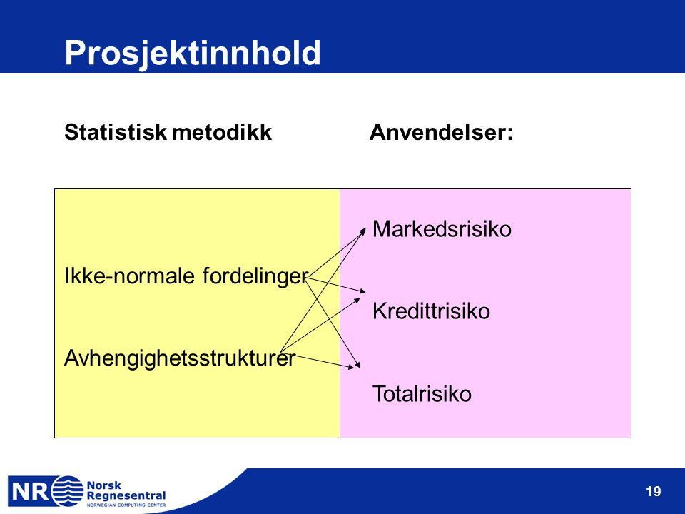 19 Prosjektinnhold Statistisk metodikk Anvendelser: Ikke-normale fordelinger Avhengighetsstrukturer Markedsrisiko Kredittrisiko Totalrisiko