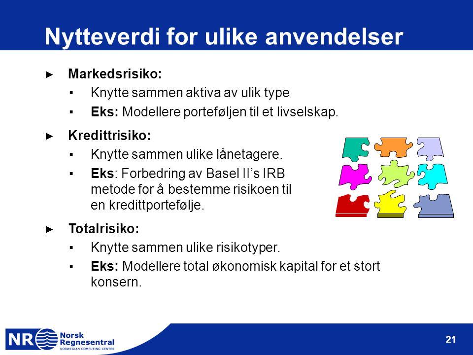 21 Nytteverdi for ulike anvendelser ► Markedsrisiko: ▪Knytte sammen aktiva av ulik type ▪Eks: Modellere porteføljen til et livselskap.