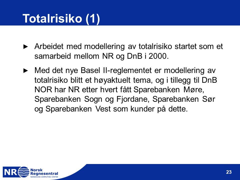 23 Totalrisiko (1) ► Arbeidet med modellering av totalrisiko startet som et samarbeid mellom NR og DnB i 2000. ► Med det nye Basel II-reglementet er m