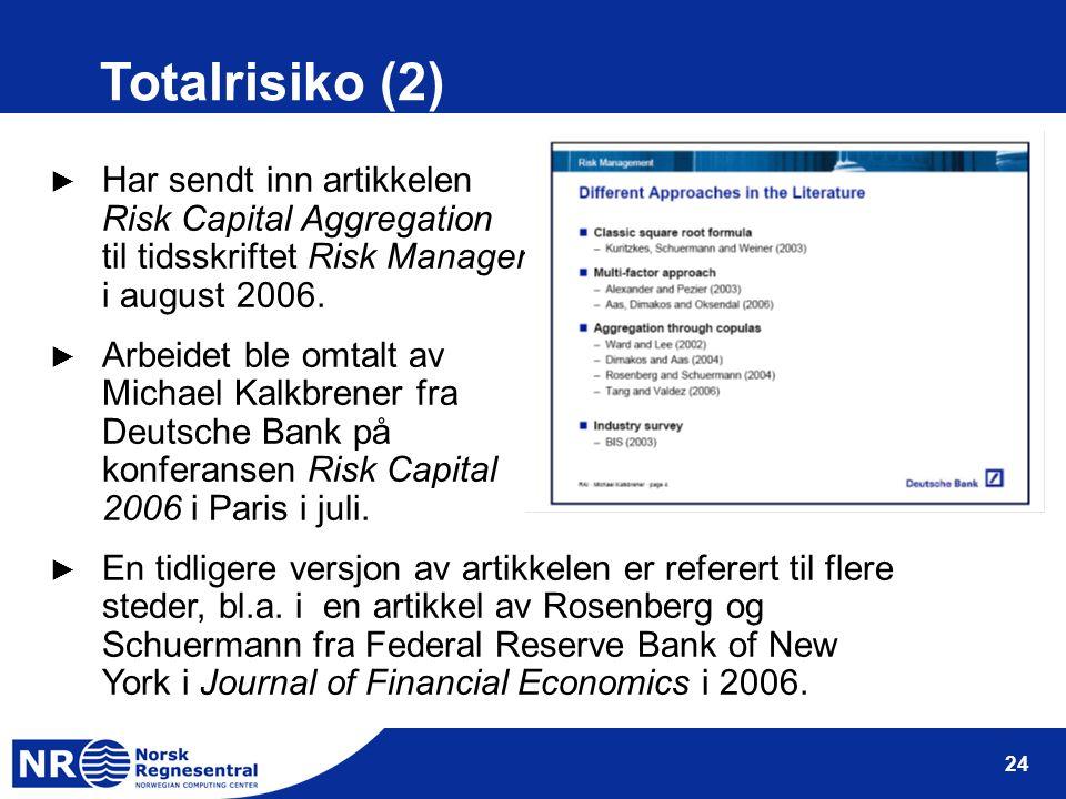 24 Totalrisiko (2) ► Har sendt inn artikkelen Risk Capital Aggregation til tidsskriftet Risk Management i august 2006. ► Arbeidet ble omtalt av Michae