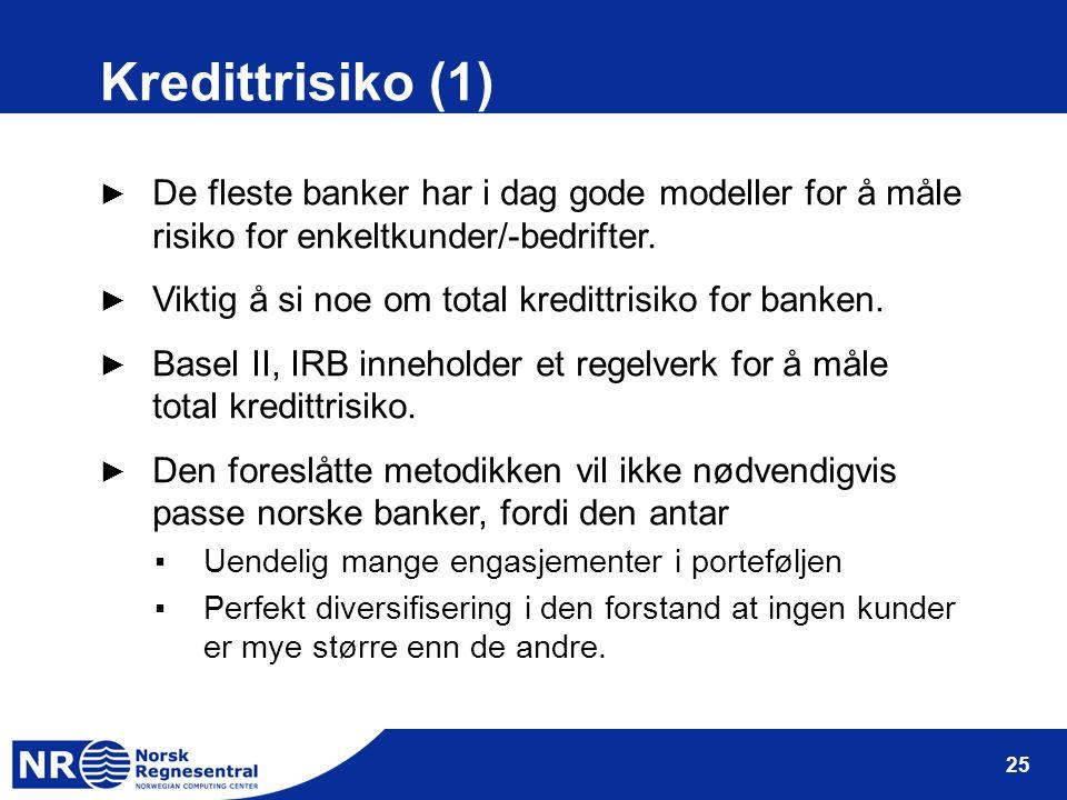 25 Kredittrisiko (1) ► De fleste banker har i dag gode modeller for å måle risiko for enkeltkunder/-bedrifter. ► Viktig å si noe om total kredittrisik