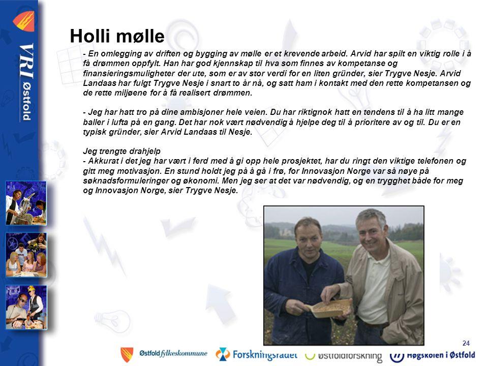 24 Holli mølle - En omlegging av driften og bygging av mølle er et krevende arbeid.