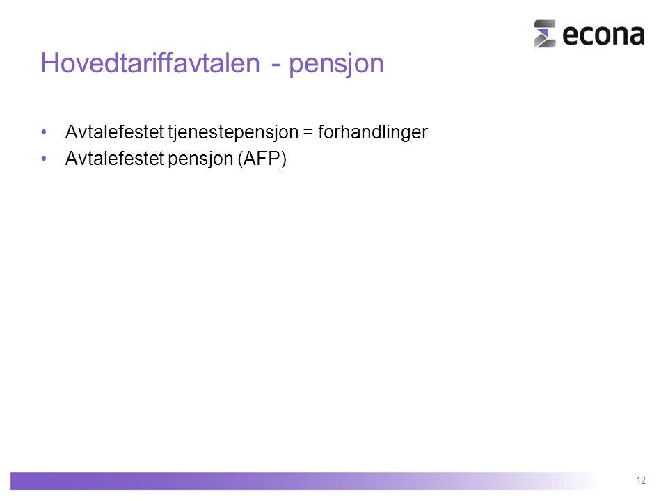 Hovedtariffavtalen - pensjon Avtalefestet tjenestepensjon = forhandlinger Avtalefestet pensjon (AFP) 12