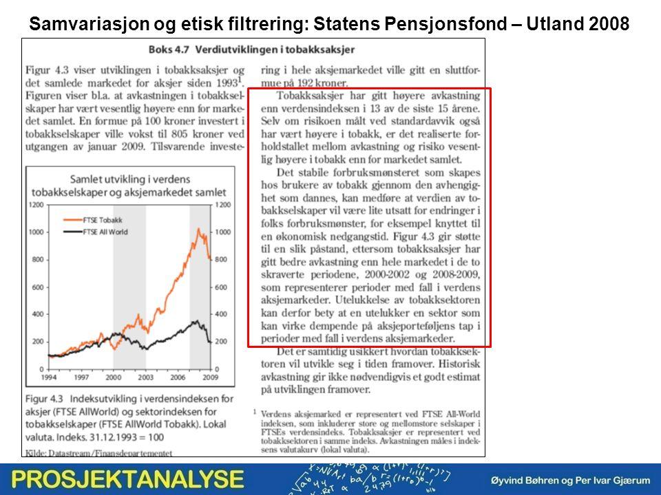Samvariasjon og etisk filtrering: Statens Pensjonsfond – Utland 2008