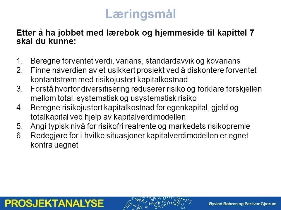 EKbeta, gjeldsbeta og totalkapitalbeta Totalkapitalkostnad etter skatt KVM for totalkapital Fra (7.8)Fra (7.12) Totalkapitalkostnad etter skatt