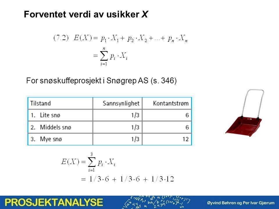 Forventet verdi av usikker X For snøskuffeprosjekt i Snøgrep AS (s. 346)