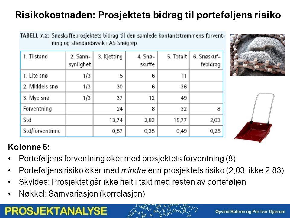 Risikokostnaden: Prosjektets bidrag til porteføljens risiko Kolonne 6: Porteføljens forventning øker med prosjektets forventning (8) Porteføljens risi