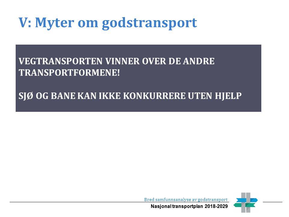 Nasjonal transportplan 2018-2029 V: Myter om godstransport Bred samfunnsanalyse av godstransport VEGTRANSPORTEN VINNER OVER DE ANDRE TRANSPORTFORMENE.