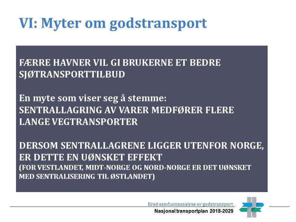 Nasjonal transportplan 2018-2029 VI: Myter om godstransport Bred samfunnsanalyse av godstransport FÆRRE HAVNER VIL GI BRUKERNE ET BEDRE SJØTRANSPORTTILBUD En myte som viser seg å stemme: SENTRALLAGRING AV VARER MEDFØRER FLERE LANGE VEGTRANSPORTER DERSOM SENTRALLAGRENE LIGGER UTENFOR NORGE, ER DETTE EN UØNSKET EFFEKT (FOR VESTLANDET, MIDT-NORGE OG NORD-NORGE ER DET UØNSKET MED SENTRALISERING TIL ØSTLANDET)