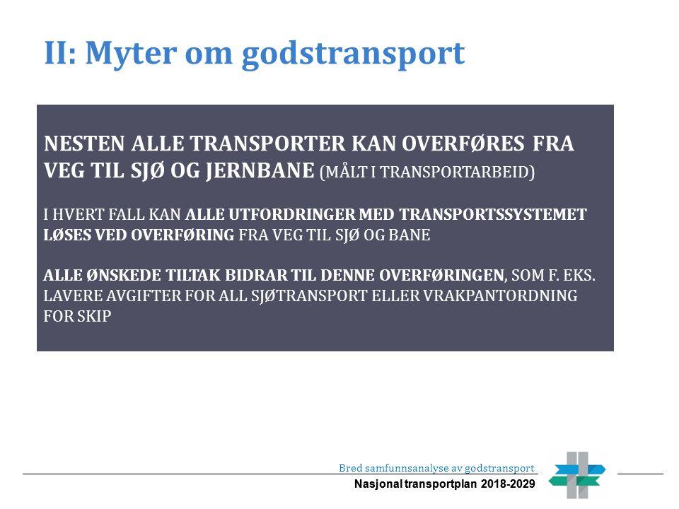 Nasjonal transportplan 2018-2029 II: Myter om godstransport Bred samfunnsanalyse av godstransport NESTEN ALLE TRANSPORTER KAN OVERFØRES FRA VEG TIL SJØ OG JERNBANE (MÅLT I TRANSPORTARBEID) I HVERT FALL KAN ALLE UTFORDRINGER MED TRANSPORTSSYSTEMET LØSES VED OVERFØRING FRA VEG TIL SJØ OG BANE ALLE ØNSKEDE TILTAK BIDRAR TIL DENNE OVERFØRINGEN, SOM F.