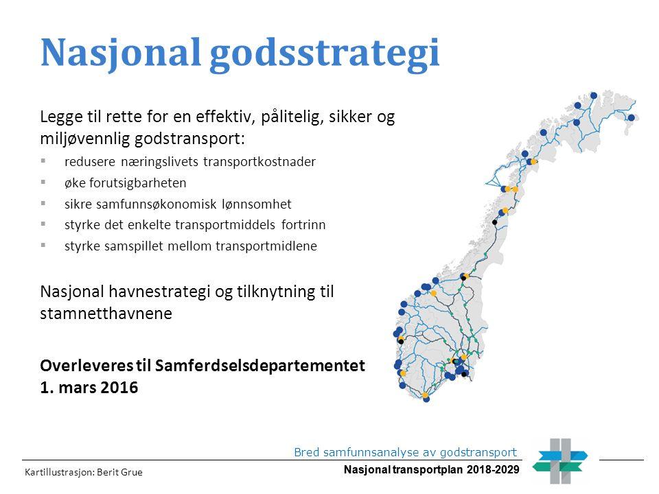 Nasjonal transportplan 2018-2029 Bred samfunnsanalyse av godstransport Nasjonal godsstrategi Legge til rette for en effektiv, pålitelig, sikker og mil