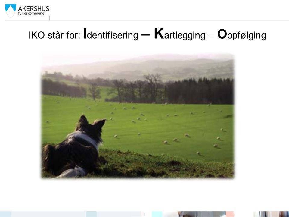 IKO står for: I dentifisering – K artlegging – O ppfølging