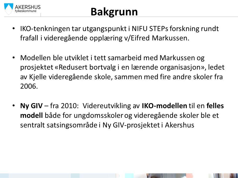 IKO-tenkningen tar utgangspunkt i NIFU STEPs forskning rundt frafall i videregående opplæring v/Eifred Markussen.