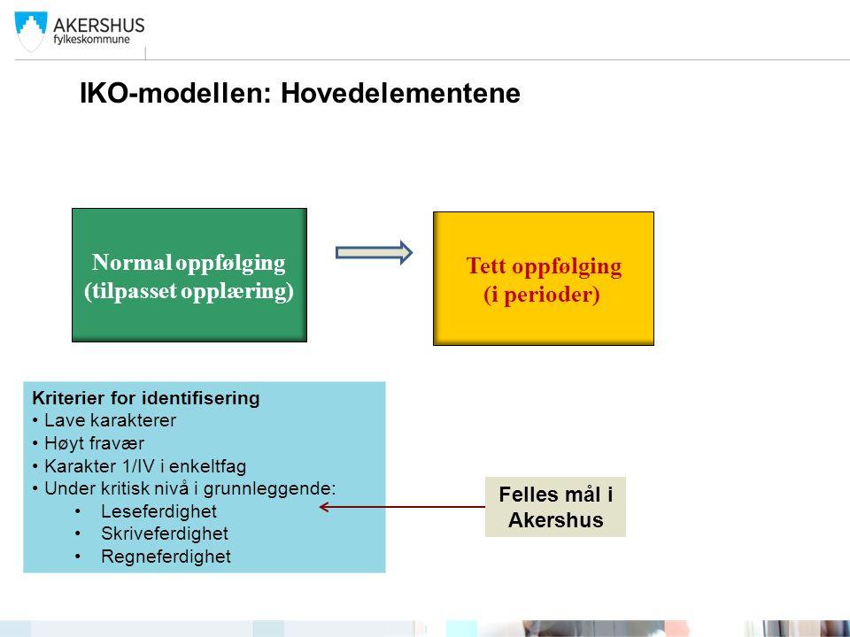 IKO-modellen: Hovedelementene Normal oppfølging (tilpasset opplæring) Tett oppfølging (i perioder) Kriterier for identifisering Lave karakterer Høyt fravær Karakter 1/IV i enkeltfag Under kritisk nivå i grunnleggende: Leseferdighet Skriveferdighet Regneferdighet Felles mål i Akershus