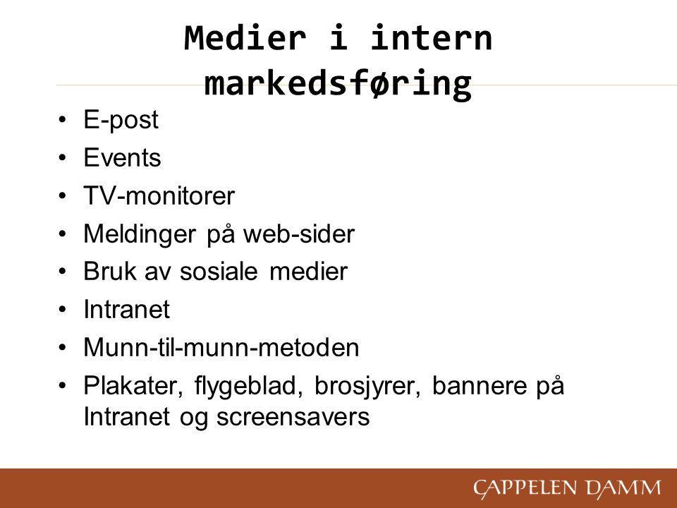 Medier i intern markedsføring E-post Events TV-monitorer Meldinger på web-sider Bruk av sosiale medier Intranet Munn-til-munn-metoden Plakater, flygeb