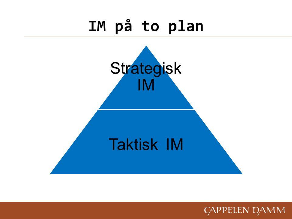 IM på to plan Strategisk IM Taktisk IM