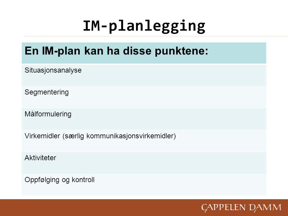 IM-planlegging En IM-plan kan ha disse punktene: Situasjonsanalyse Segmentering Målformulering Virkemidler (særlig kommunikasjonsvirkemidler) Aktivite