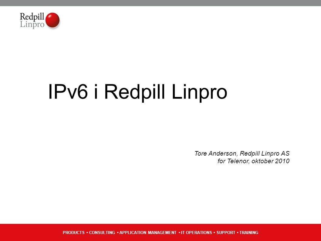 PRODUCTS CONSULTING APPLICATION MANAGEMENT IT OPERATIONS SUPPORT TRAINING Vidare Vente på Mac OS X 10.6.5 og sjå effekta Mase meir på folka som driv studentby-netta i UNINETT Vente på sluttbrukarar med IPv6 (hint, hint) Dualstack prod-test for A-pressen Digitale Medier Dato ikkje spikra enno, men antageleg ila.