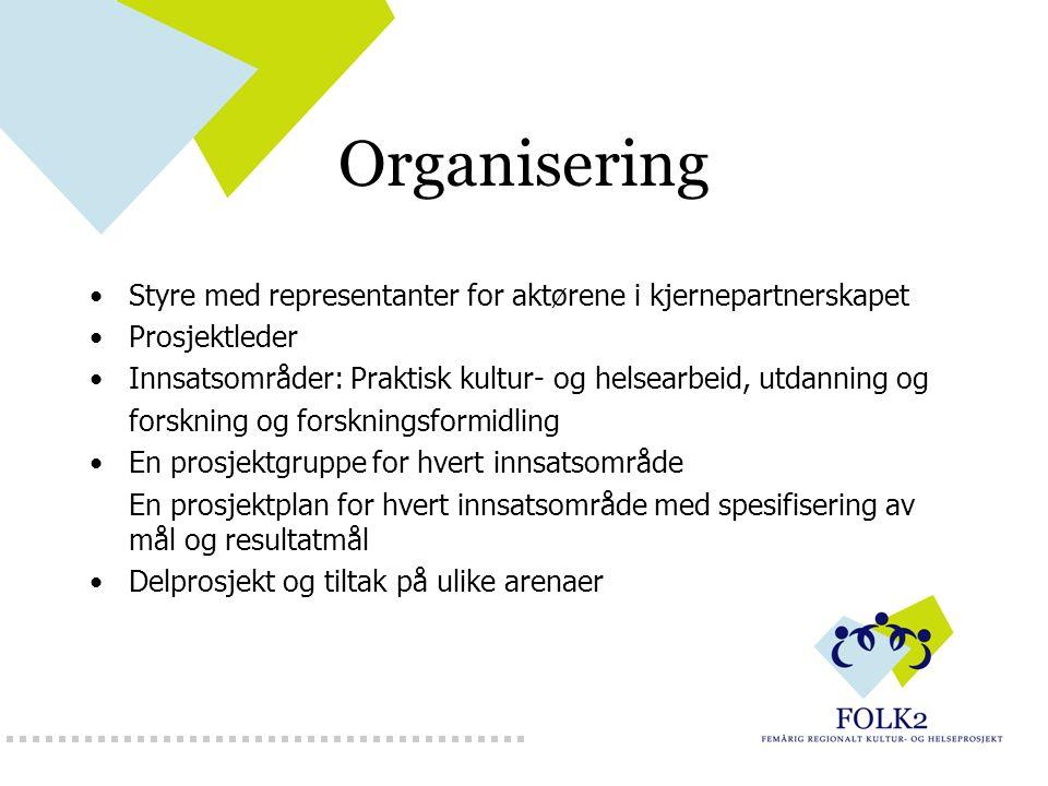 Organisering Styre med representanter for aktørene i kjernepartnerskapet Prosjektleder Innsatsområder: Praktisk kultur- og helsearbeid, utdanning og f