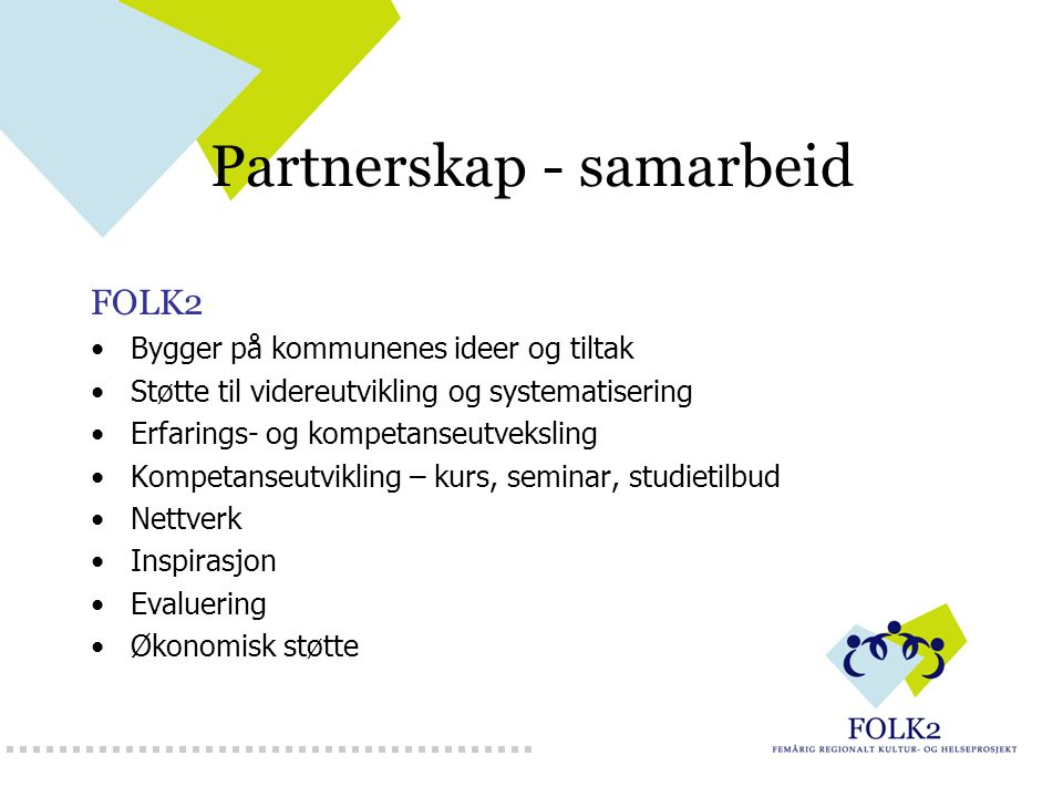 Partnerskap - samarbeid FOLK2 Bygger på kommunenes ideer og tiltak Støtte til videreutvikling og systematisering Erfarings- og kompetanseutveksling Ko