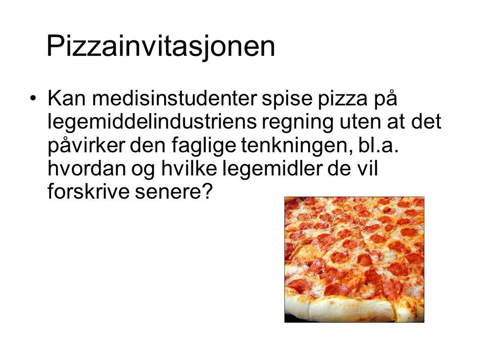 Pizzainvitasjonen Kan medisinstudenter spise pizza på legemiddelindustriens regning uten at det påvirker den faglige tenkningen, bl.a.