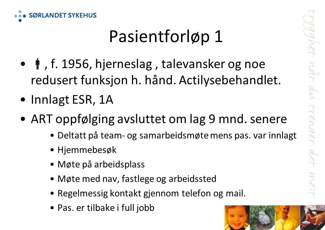 Pasientforløp 1 , f.1956, hjerneslag, talevansker og noe redusert funksjon h.