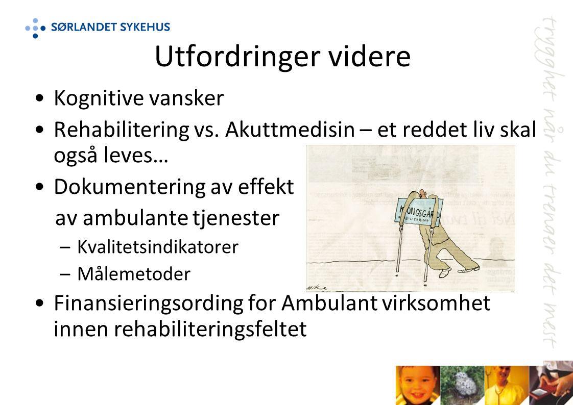 Utfordringer videre Kognitive vansker Rehabilitering vs.