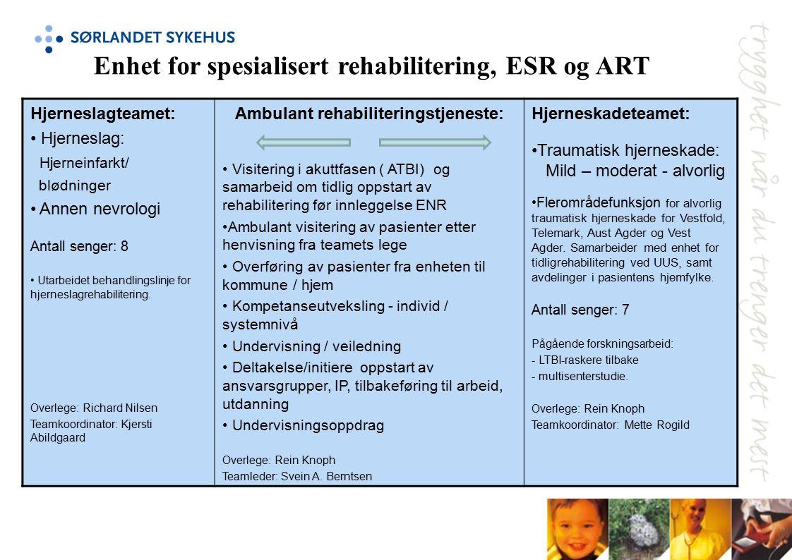 Hjerneslagteamet: Hjerneslag: Hjerneinfarkt/ blødninger Annen nevrologi Antall senger: 8 Utarbeidet behandlingslinje for hjerneslagrehabilitering.