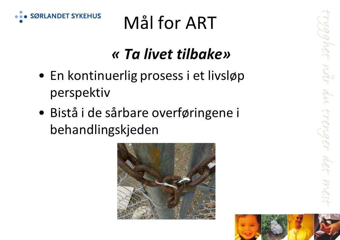 Mål for ART « Ta livet tilbake» En kontinuerlig prosess i et livsløp perspektiv Bistå i de sårbare overføringene i behandlingskjeden