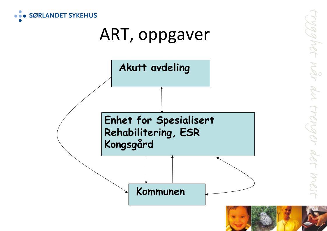 ART, oppgaver Enhet for Spesialisert Rehabilitering, ESR Kongsgård Akutt avdeling Kommunen