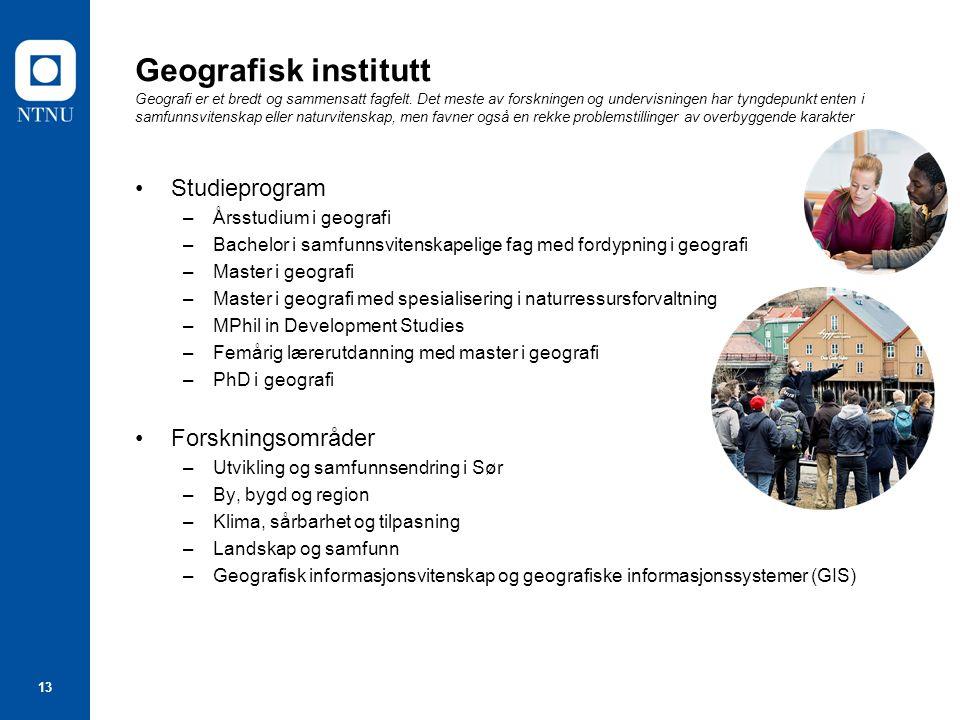 13 Geografisk institutt Geografi er et bredt og sammensatt fagfelt. Det meste av forskningen og undervisningen har tyngdepunkt enten i samfunnsvitensk
