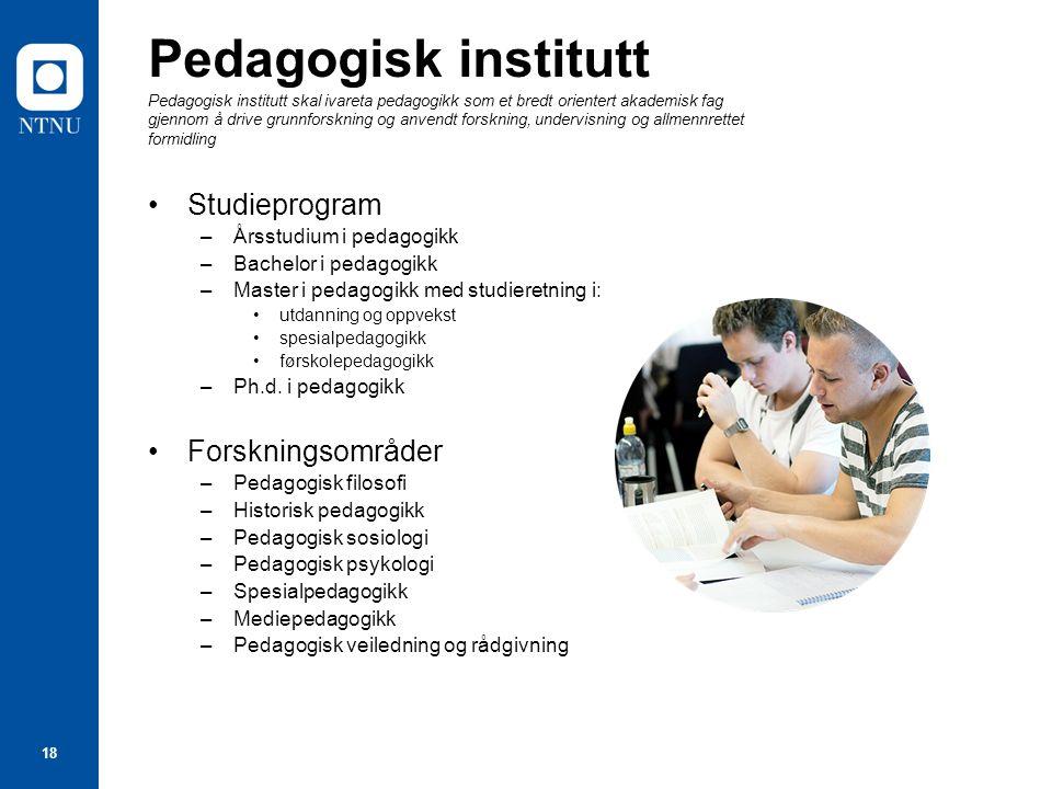 18 Pedagogisk institutt Pedagogisk institutt skal ivareta pedagogikk som et bredt orientert akademisk fag gjennom å drive grunnforskning og anvendt fo