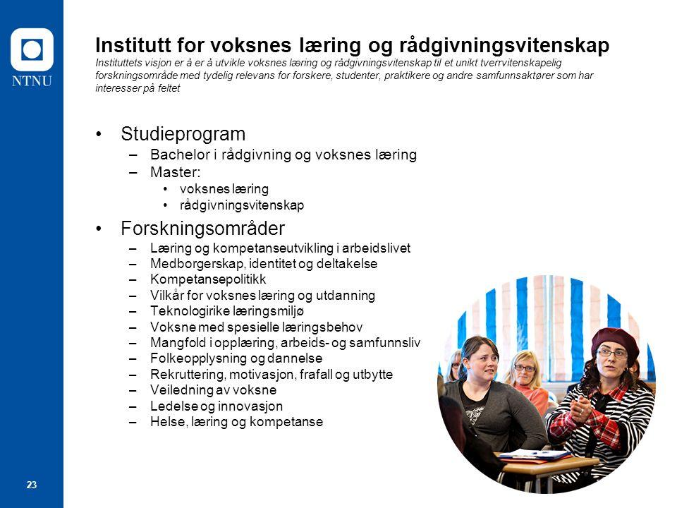23 Institutt for voksnes læring og rådgivningsvitenskap Instituttets visjon er å er å utvikle voksnes læring og rådgivningsvitenskap til et unikt tver