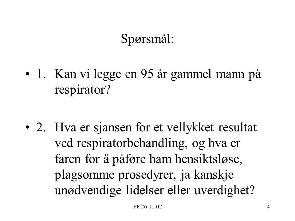 PF 26.11.024 Spørsmål: 1.Kan vi legge en 95 år gammel mann på respirator.